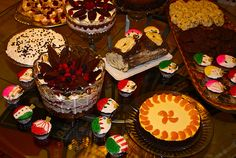 Our dessert party, 2011. We had phyllo tartlets, raspberry-white chocolate trifle, chocolate mousse trifle, rum-raisin cheesecake (thanks to Holly Stave), mandarine orange cheesecake, yule log, brandy alexander pie, flourless chocolate cake, chile ch #christmasrecipes #christmasdessert