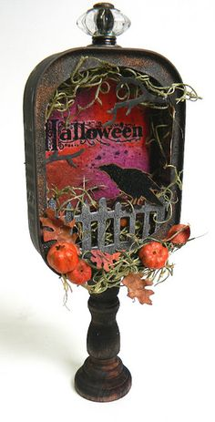 Beautiful work done by Shelly Hickox....sardine can Halloween shrine!