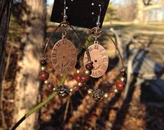 Red Jasper and Gold Toned Beaded Hoop Steampunk Clock Earrings on Etsy, $19.99