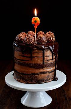Chocolate Hazelnut Semi Naked Cake with Dark Chocolate Ganache