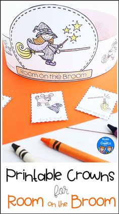Room on the Broom - Sequencing Hats Halloween story sequencing hats for pre-k, kindergarten, or grade. These differentiated printable crowns are an easy prep activity for October. Halloween Stories For Kids, Halloween Math, Halloween Activities For Kids, Printable Activities For Kids, Kindergarten Activities, Book Activities, Preschool Activities, Monster Activities, Room On The Broom
