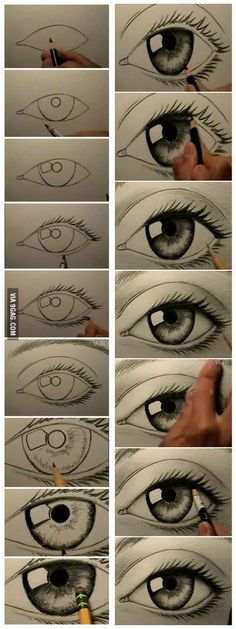 How to draw a realistic eye. Kirstin's really into drawing eyes lately. Thought this looked really good.