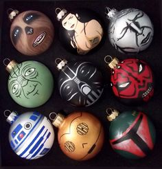 Lots of Star Wars hand painted ornaments! R2D2, C3PO, Vader, Yoda and more available at GingerPots on Etsy!