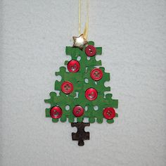 Preschool Crafts for Kids*: Puzzle Piece Christmas Tree Ornament Craft Preschool Christmas, Christmas Crafts For Kids, Preschool Crafts, Holiday Crafts, Fun Crafts, Tree Crafts, Easy Christmas Ornaments, Noel Christmas, Simple Christmas