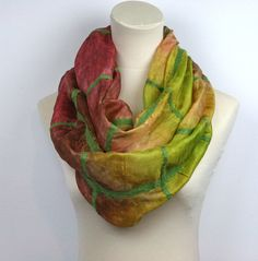 Nuno Felted Hand Dyed Infinity Silk Scarf   Mulberry Red by ZMFelt, £40.00