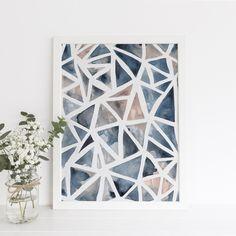 Abstract Watercolor Geometric Art Print or Canvas – Jetty Home Art Et Nature, Art Diy, Easy Art Projects, Guache, Geometric Wall Art, Abstract Watercolor, Abstract Geometric Art, Water Color Abstract, Simple Art