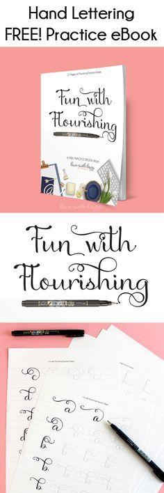 Plezier met Bloeiende: Free Hand Van letters Practice eBook. Werk aan je bloeit met de twaalf pagina's van de praktijk vellen in deze gratis eBook!