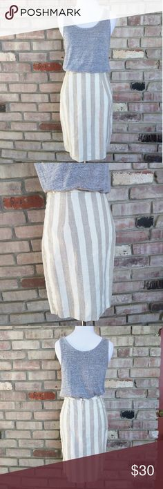 """The Limited Stripe Pencil Skirt Super cute skirt in a thick linen like material by The Limited. Excellent worn condition!  Measurements taken laying flat- Length- 20"""" Hips- 19.5"""" Waist-13.5""""  Ask me about free shipping! The Limited Skirts Pencil"""