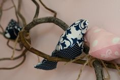 Navy & Pink  Birds (handmade) nestled in twine:0)   lovely decor in nursery <3