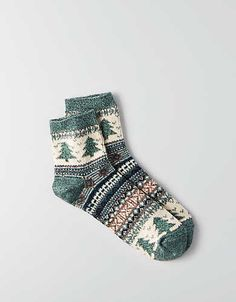 AEO Fairisle Ankle Socks, Green | American Eagle Outfitters