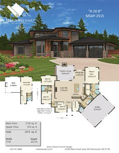 """""""Sting A"""" by Mark Stewart Home Design. A modern masterpiece with exciting curb appeal and a proven floor plan. House Plans Mansion, Sims House Plans, New House Plans, Dream House Plans, Small House Plans, Dream Houses, Modern House Floor Plans, Contemporary House Plans, Modern House Design"""