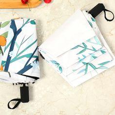 Small Fresh Mint And Lemon fashion print cute Windproof automatic tri-fold umbrella sun UV protection Sun umbrella