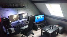 Home Office Furniture: Choosing The Right Computer Desk Gaming Room Setup, Pc Setup, Office Setup, Desk Setup, Ikea Bekant, Video Game Rooms, Game Room Design, Man Cave Home Bar, Gamer Room