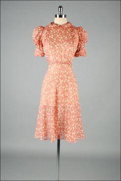 Vintage 1940s Dress  Silk Crepe  Sun  Moon  by millstreetvintage, $165.00