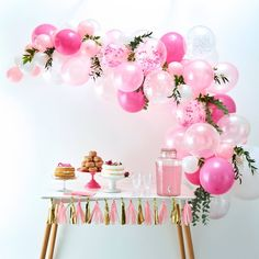 Balloon Arch Pink, balloons and balloon accessories Color: MultiColored. Diy Birthday, First Birthday Parties, First Birthdays, Happy Birthday, Spring Birthday Party Ideas, Balloon Decorations, Birthday Party Decorations, Easy Party Decorations, Décoration Baby Shower