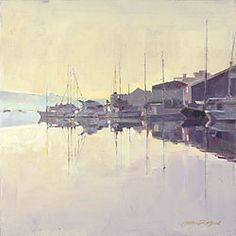 Penryn Quay by John Raynes Boat Painting, Dawn, Contemporary Art, Coastal, Sunrise, Waves, Ocean, Gallery, Cornwall