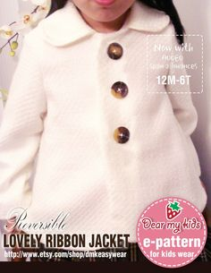 Omkeerbare mooie lint jas (12 maanden t/m leeftijd 6) PDF patroon