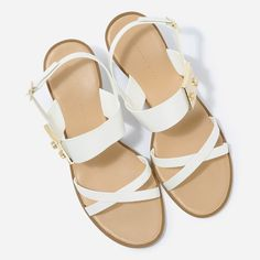 Buckle Detail Ankle Strap Heels - White - Heels - Shoes | CHARLES & KEITH