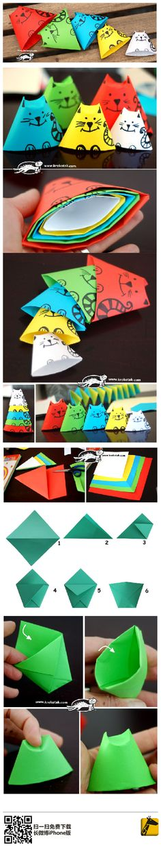 Origami cup - cats - kids love to make these colorful cats in different sizes - very fun project Cat Crafts, Animal Crafts, Diy And Crafts, Crafts For Kids, Arts And Crafts, Paper Crafts, Projects For Kids, Diy For Kids, Craft Projects