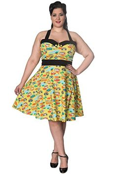 65a37e6c1bf Banned Starlight Vintage Retro Plus Size Halterneck Dress - Green   UK-18  at Amazon Women s Clothing store