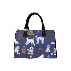 poodles navy Boston Handbag (Model 1621)