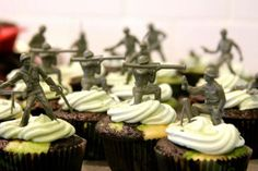 Toy soldier cupcake toppers for an army camouflage birthday party