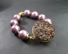 Druse quartz, Mallorca pearls, lavender, purple,  Set bracelet and earrings of pearl Mallorca with by TillJD on Etsy