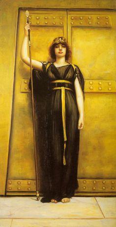 "Vintage Ephemera  -   Pre-Raphaelite Painting, ""The Priestess"", John William Godward, 1895"
