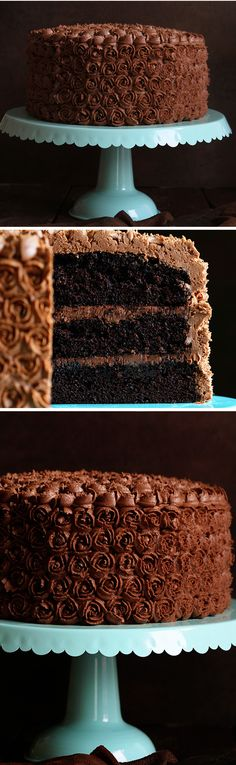 Mini Rosettes on a Chocolate Cake with Chocolate Coffee Buttercream! Mini Rosettes on a Chocolate Cake with Chocolate Coffee Buttercream! Cake Icing, Frosting Recipes, Buttercream Frosting, Cupcake Cakes, Cake Recipes, Chocolate Coffee, Chocolate Desserts, Chocolate Cream, Chocolate Glaze