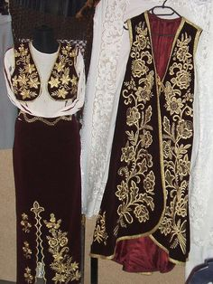 As Europe's sole Muslim-majority nation (Albania is Muslim, though highly nominal), Albanian clothing is expresses obvious Turkish influences as a result of nearly 500 years of Ottoman rule. Tribal Costume, Folk Costume, Albanian Culture, Vintage Underwear, International Fashion, Modest Dresses, Traditional Dresses, Hijab Fashion, I Dress