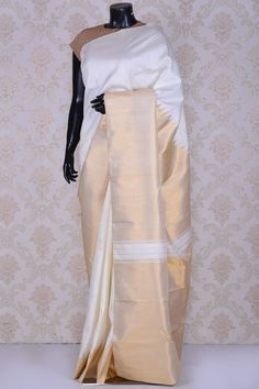 Off white stunning kanchipuram silk saree-SR22910 - Sarees
