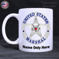 US Marshal Badge Personalized 11oz Coffee Mugs Made in the USA.  #Handmade