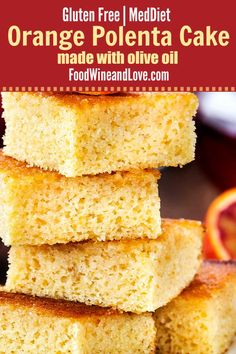 Orange Polenta Cake Made With Olive Oil, this delicious cake recipe is made with olive oil. It is gluten free and friendly to the Mediterranean Diet. Delicious Cake Recipes, Cupcake Recipes, Yummy Cakes, Cupcake Cakes, Dessert Recipes, Delicious Meals, Cupcakes, Orange Polenta Cake, Diet Cake