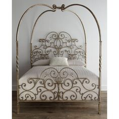 Tuscany King Canopy Bed ($2,699) ❤ liked on Polyvore featuring home, furniture, beds, iron furniture and iron bed
