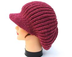Women's Newsboy Cap  Deep Rose Hat  Tweed by BettyMarieJones