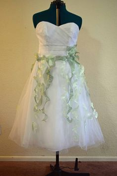 Woodland Fairy Wedding Dress.  Upcycled, Size 12, Tea Length, Magical and Elven. on Etsy, $80.00