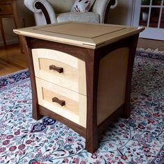 Woodworking Joinery How To Make Nighstands - maple & walnut.Woodworking Joinery How To Make Nighstands - maple & walnut Awesome Woodworking Ideas, Woodworking Projects For Kids, Intarsia Woodworking, Woodworking Workbench, Woodworking Workshop, Woodworking Furniture, Best Woodworking Tools, Woodworking Crafts, Woodworking Supplies