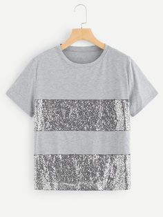 SHEIN offers Contrast Sequin Tee & more to fit your fashionable needs. Fashion News, Fashion Outfits, Budget Planer, Refashion, Short, Diy Clothes, Shirt Style, Tee Shirts, Cute Outfits