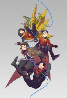 Robins - Dick, Jason, Tim, And Damian