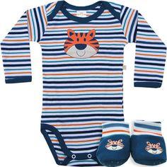 Body Bebê Menino Listrado com Sapatinho Marinho - Best Club :: 764 Kids | Roupa bebê e infantil