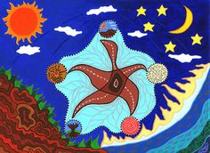 "This painting, The Dance of Life, depicts ""a multi-dimensional model of health and wellbeing from an Aboriginal perspective,"" including physical, psychological, social, spiritual and cultural dimensions.  The painting shows that the central core of #Indigenous health depends on collective wisdom, family, community life and a connection to the land. #sociology #australia"