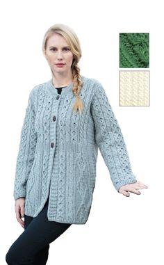 8b9ed7cb1f2 Aran Knit Cardigan A Line 100% Merino Wool A feminine A-line style Aran