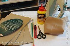 Мастер-класс Поделка изделие Плетение МК по обтягиванию картона тканью Картон Клей Ткань фото 2