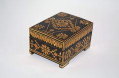 Rare Decorative Ukrainian Wood Box Trinket Box Jewelry Box Stars Straw Inlay Straw Marquetry Folk Art Hinged Lacquered Box hand carved box by VintagePolkaShop on Etsy