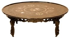 Asian Black Lacquer & Mother of Pearl Low Coffee Table