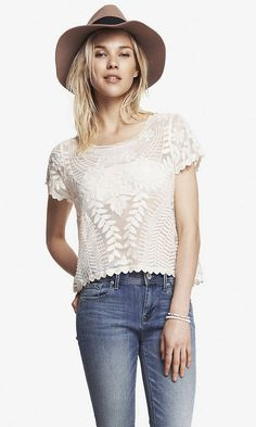Stuff I actually got: SHORT SLEEVE BAROQUE LACE TEE | Express