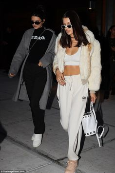 Girl's night: Kendall Jenner and Bella Hadid headed out for dinner at Nobu in New York on Thursday night