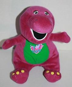 Barney plush singing I Love You Heart Dinosaur purple stuffed animal sewn eyes