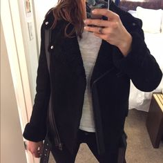 """Black Shearling Jacket Classic moto """"Babe Coat"""" by American Retro. European size 36 / US size 4.  No longer available on American Retro website.  Plush shearling throughout inside of jacket. Amazing quality , and very warm.  Tag still attached.  Fabric: 100% Sheep, 100% Lamblea. Fur: Died shearling, from France. Suede shell Shearling lining Leather detailing American Retro Jackets & Coats Utility Jackets"""