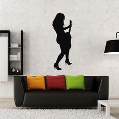 ik2602 Wall Decal Sticker sexy girl with rock guitar heavy lounge music store